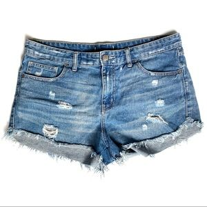 Free People Distressed Hot Pants Jean Shorts 30